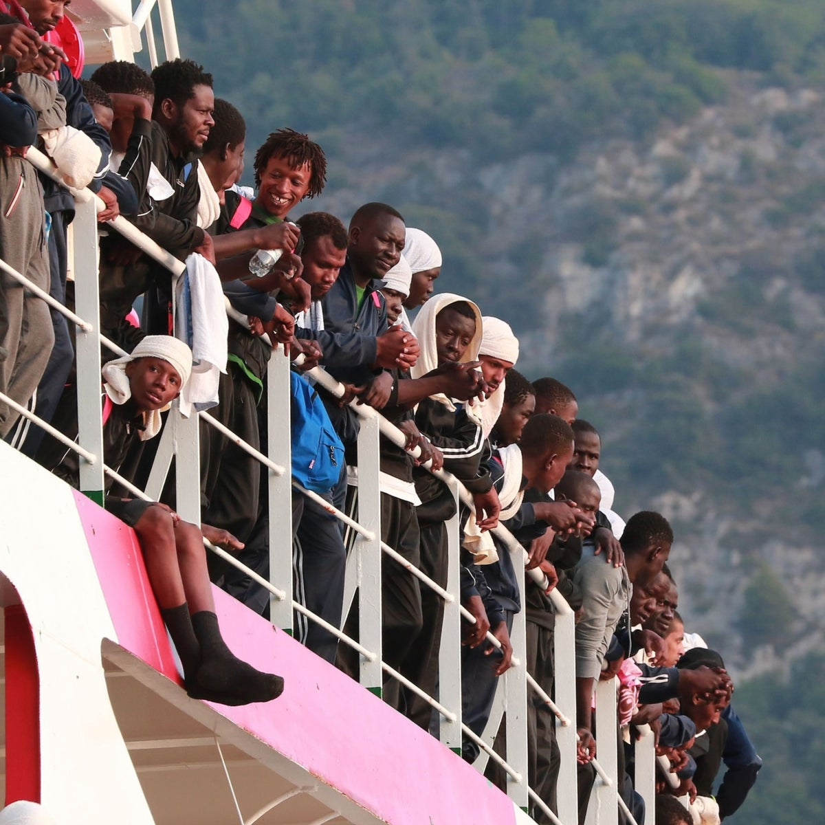 The Italian rescue ship Vos Prudence, run by NGO Doctors Without Borders, arriving in the port of Salerno carrying 935 migrants, July 14, 2017.