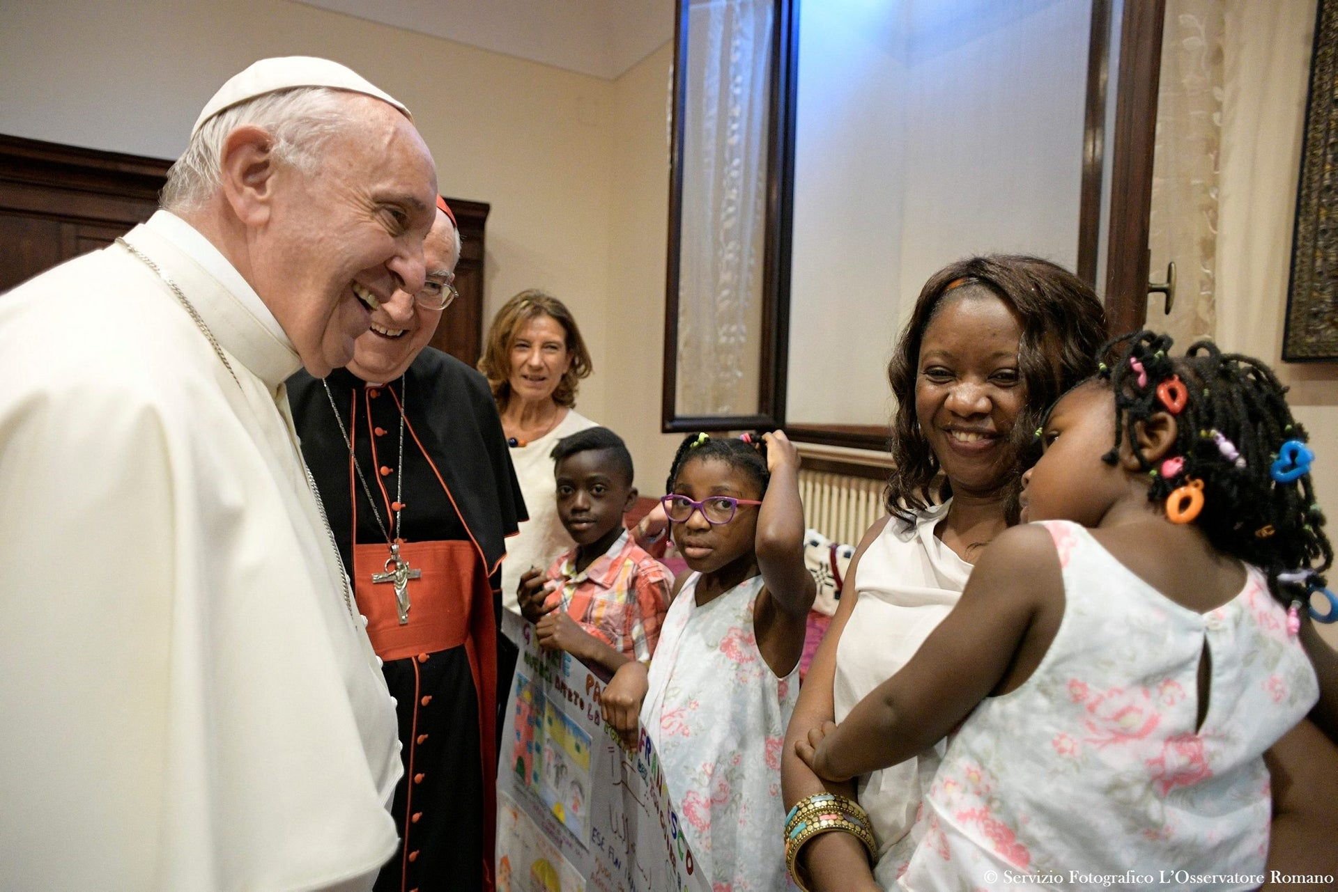 Pope Francis meets a group of refugees at Rome's Basilica of St. John in Lateran, Italy June 19, 2017.