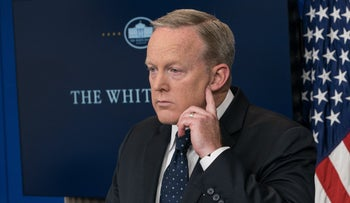 White House spokesman Sean Spicer gestures during a press briefing at the White House in Washington, DC, on June 20, 2017.