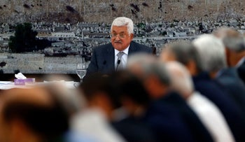 Palestinian president Mahmoud Abbas gives a speech during a meeting of Palestinian leadership in the West Bank city of Ramallah on July 21, 2017, during which he announced freezing contacts with Israel over new security measures the highly sensitive Jerusalem holy site of Al-Aqsa mosque compound, known to Jews as the Temple Mount, after deadly clashes erupted earlier the same day.