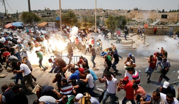 Israeli security forces and Palestinians clash near Jerusalem's Old City, July 21, 2017.