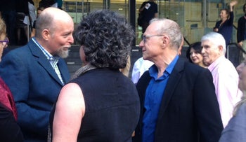 "Award-winning Israeli author David Grossman, right (in blue shirt), with Aviad Ivri, Consul for Cultural Affairs in North America, outside the Gerald W. Lynch Theater in Manhattan, where a play based on his book "" ""To the End of the Land,"" was performed as part of the 2017 Lincoln Center Festival, July 24, 2017."