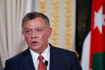 Jordan's King Abdullah attend a joint news conference in Paris, France, June 19, 2017.