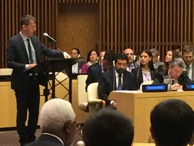 B'Tselem director Hagai El-Ad addressing the UN Security Council, October 14, 2016.