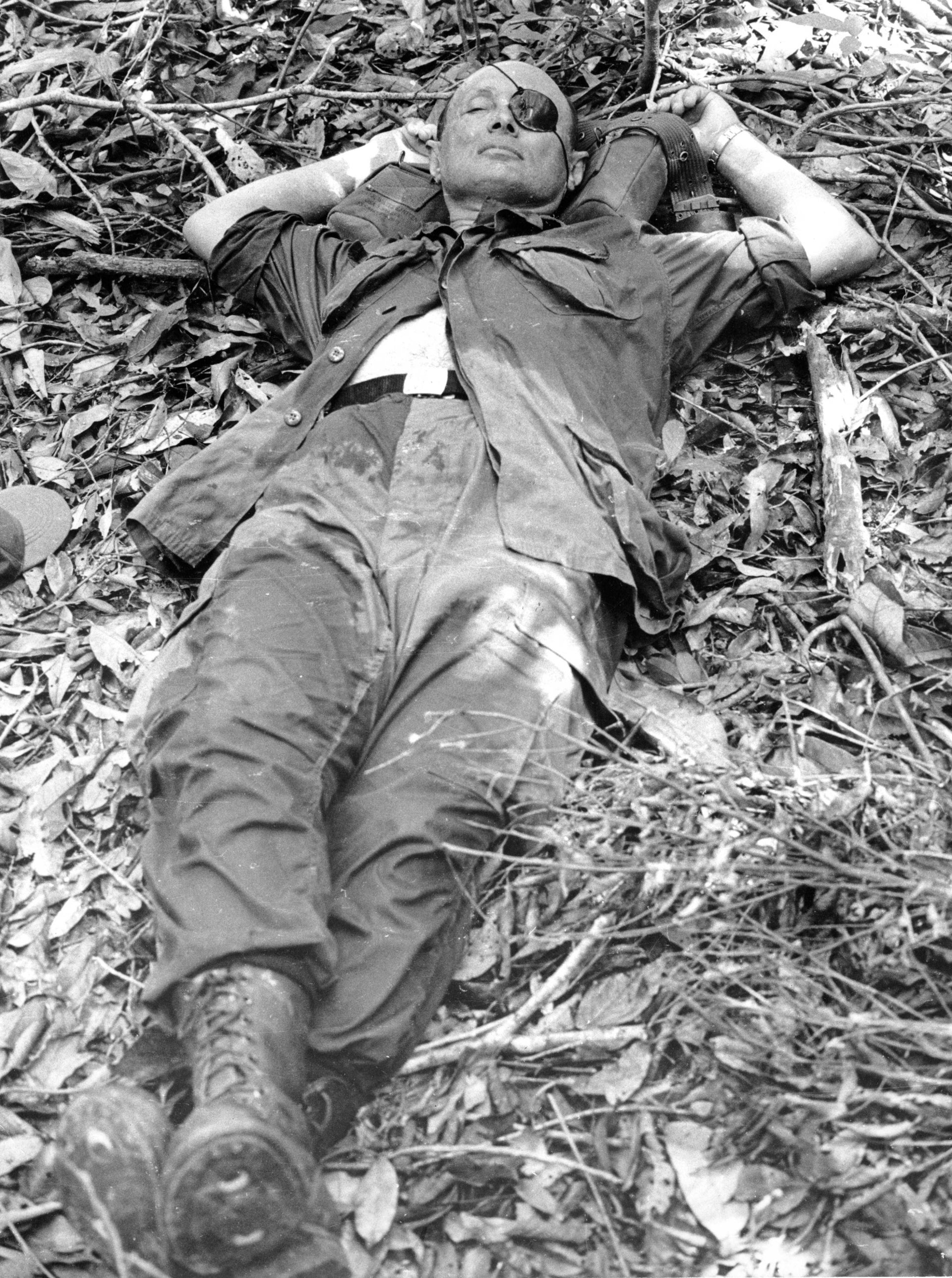 Moshe Dayan in the jungles of Vietnam, August 1966.