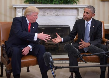 U.S. President Barack Obama and Republican President-elect Donald Trump shake hands during a transition planning meeting in the Oval Office at the White House on November 10, 2016 in Washington, DC.