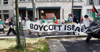 A demonstration calling for the boycott of Israel, in Paris, 2014.