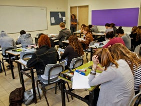 11th graders in a Tel Aviv high school taking a test, February 23, 2011.
