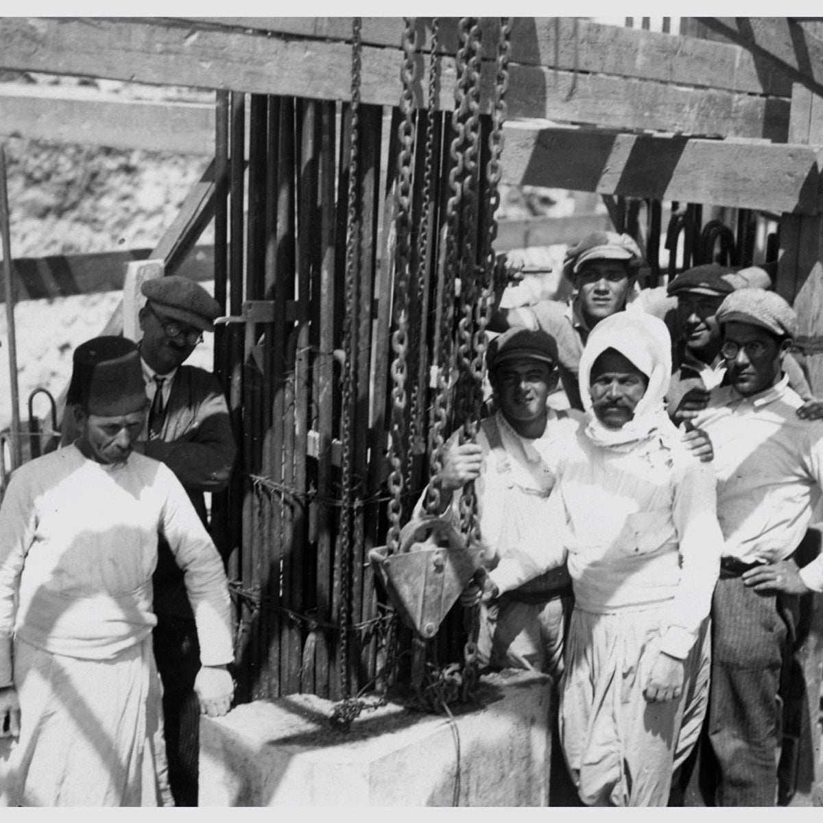Arab and Jewish construction workers at the site of the YMCA in Jerusalem, 1929.