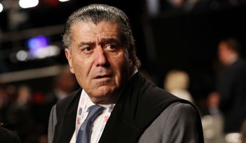 Businessman Haim Saban arrives before the start of the third U.S. presidential debate at the Thomas & Mack Center on October 19, 2016 in Las Vegas, Nevada.