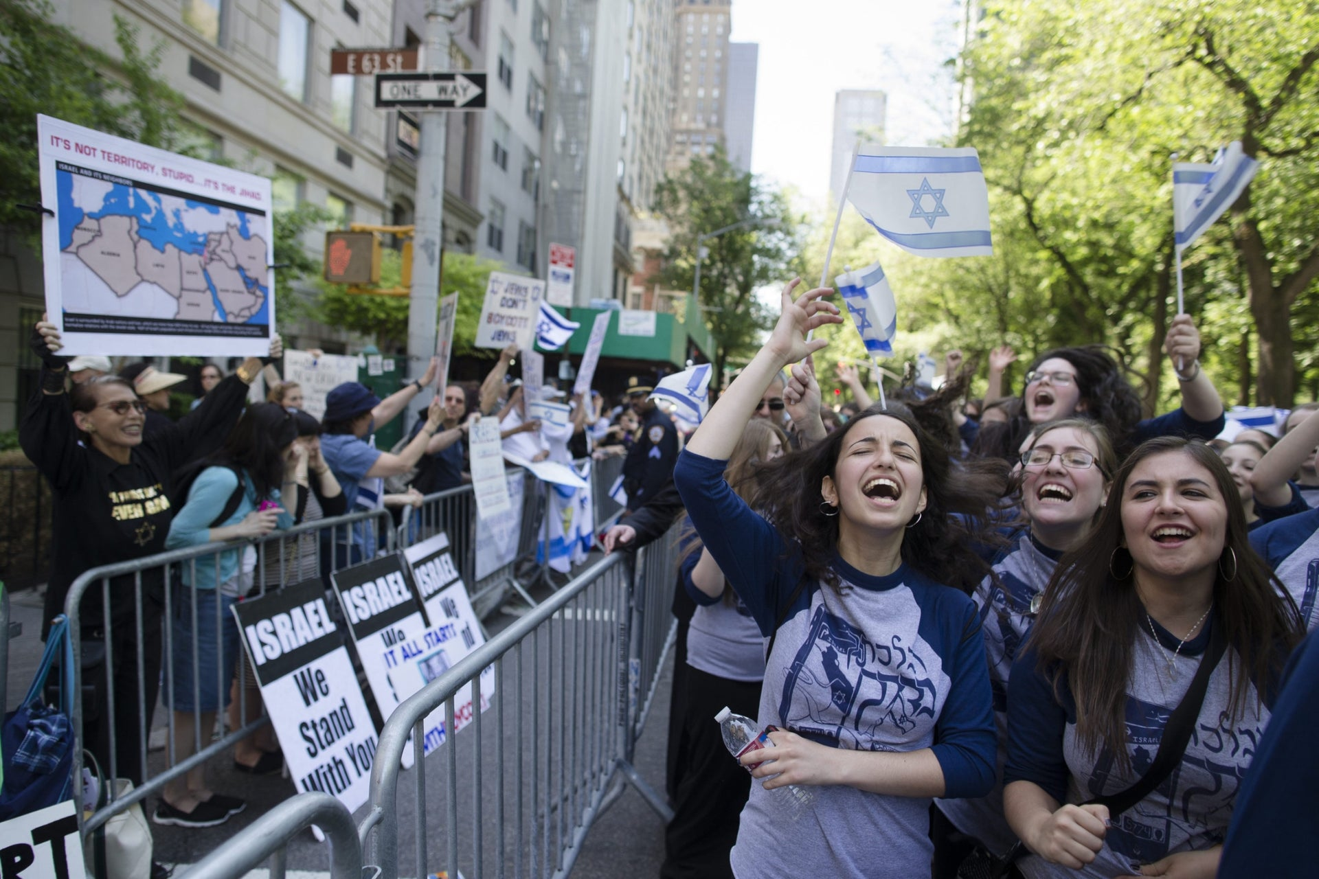Pro-Israel marchers counter a BDS demonstration in New York.