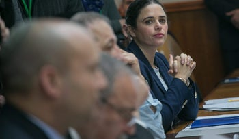 Justice Minister Ayelet Shaked at a weekly cabinet meeting, January 2017.