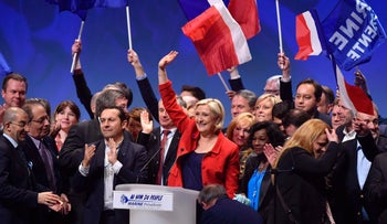 French presidential candidate Marine Le Pen of the far-right Front National party gives a speech at a campaign rally in Lille, March 26, 2017.