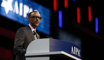 Rwandan President Paul Kagame speaks at the AIPAC conference in Washington, March 26, 2017.