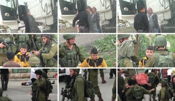 Frames from videos of IDF soldiers and Palestinians used as evidence.