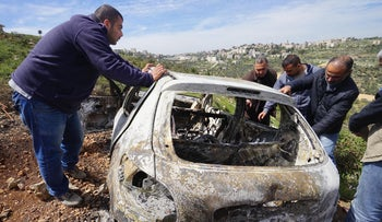 The car that was sprayed by bullets by Israeli troops.