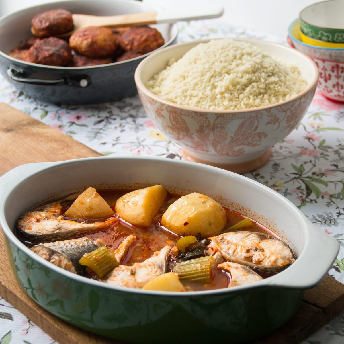 Fish patties in tomato sauce, fish soup and couscous.