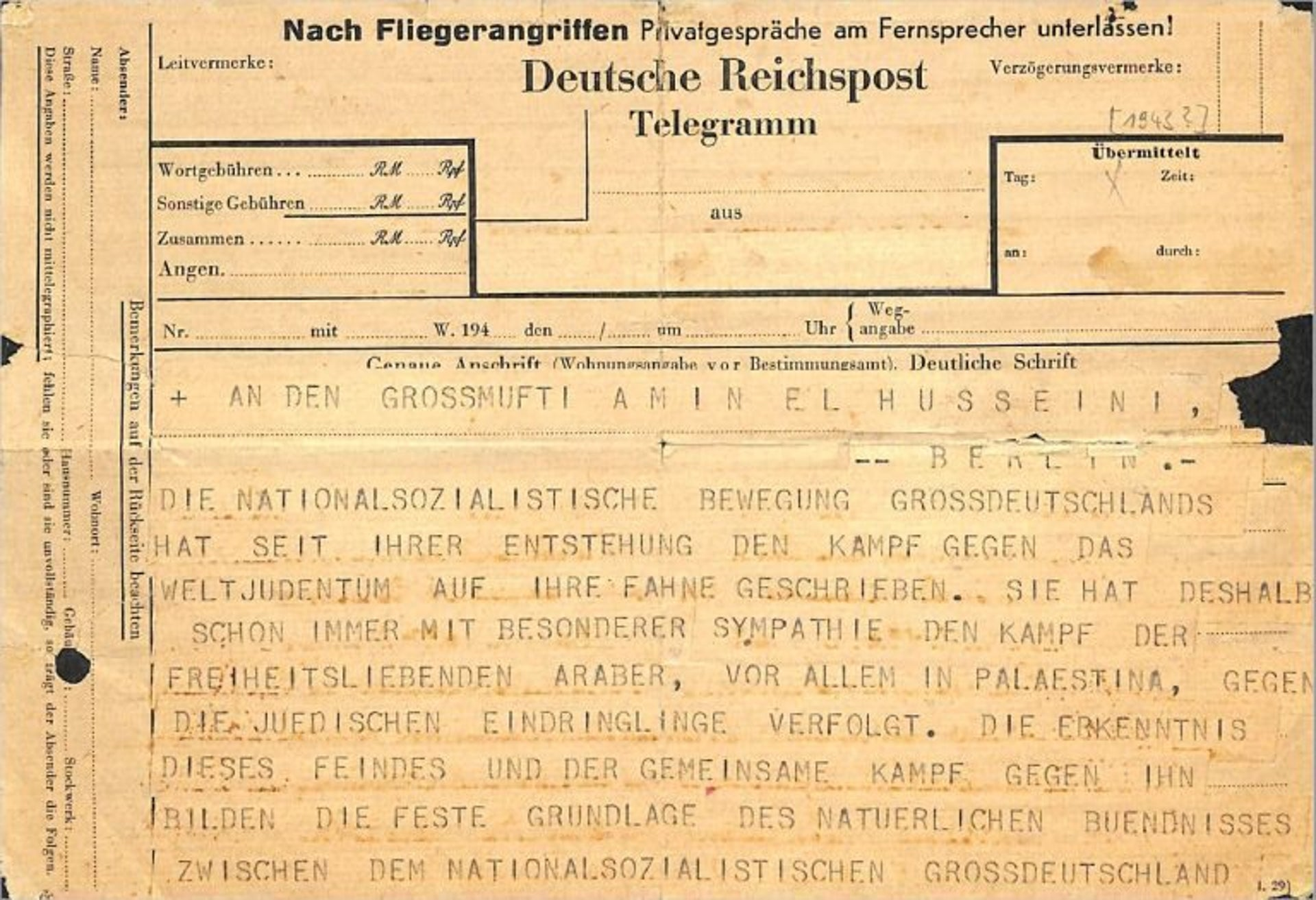 The telegram from S.S. head Heinrich Himmler to Mufti Haj Amin al-Husseini, sent to mark the 26th anniversary of the Balfour Declaration in 1943.