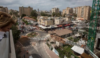 The site of a crane collapse at a construction site in Ramat Gan, March 19, 2017.