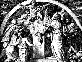 Sacrifices, a woodcut by Julius Schnorr von Carolsfeld from the 1860 Die Bibel in Bildern.