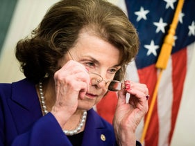 Senator Dianne Feinstein (D-CA) adjusts her glasses during a press conference on Capitol Hill about a bill meant to combat sexual abuse of young athletes March 28, 2017 in Washington,DC.