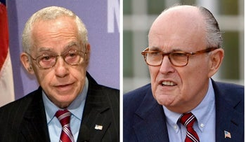Michael Mukasey, left, and Rudy Giuliani are working for Reza Zarrab, who is charged with helping Iran evade U.S. sanctions.