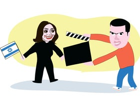 Illustration: Sayed Kashua holds a clapperboard in front of a smiling, Israeli-flag-waving Miri Regev.