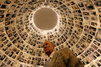 Russian poet Yevgeny Yevtushenko visits the Hall of Names at the Yad Vashem Holocaust Memorial in Jerusalem November 15, 2007.