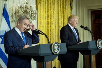 Trump and Netanyahu at a news conference in the East Room of the White House in Washington, D.C., February  15, 2017.