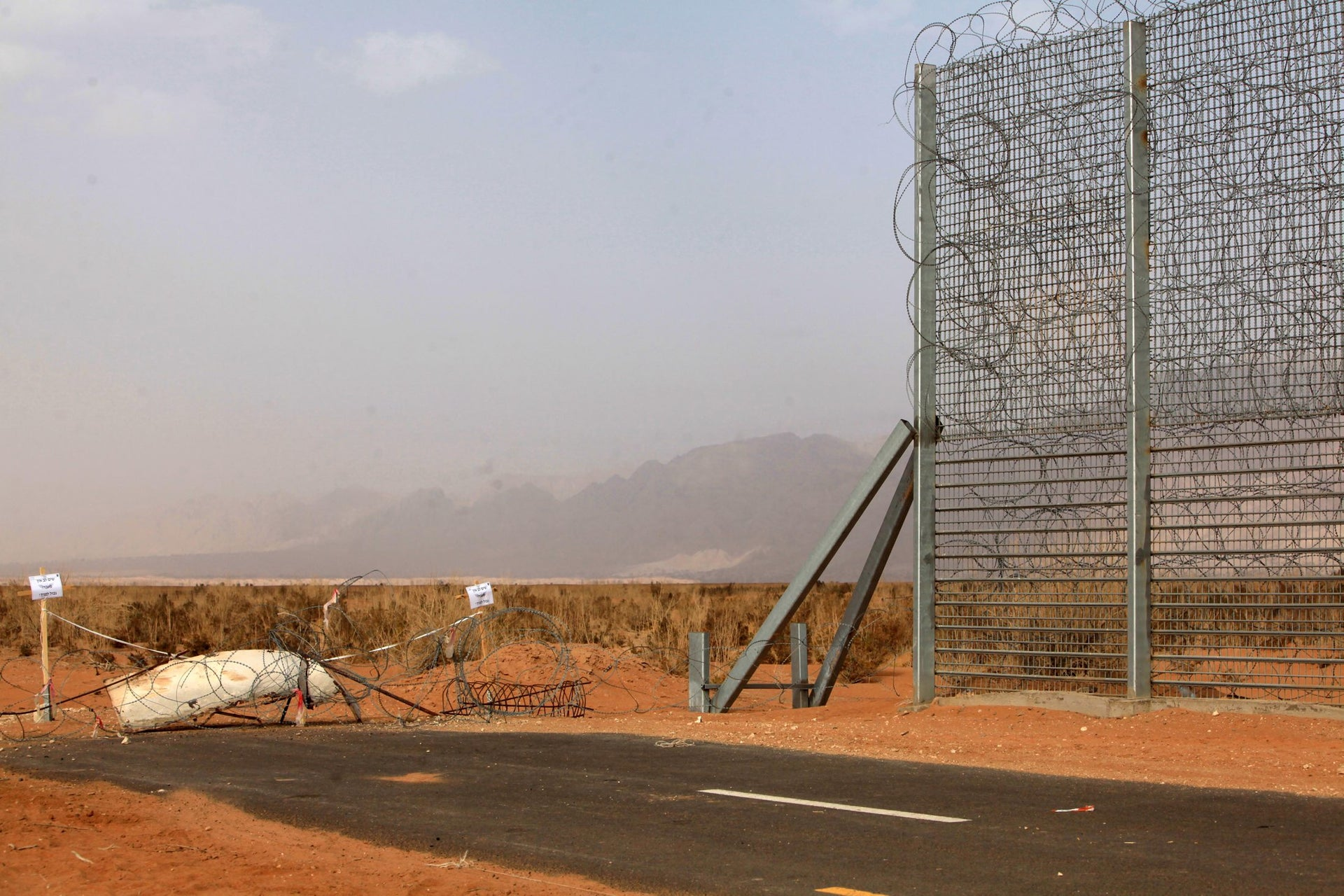 Where the great border wall ends, and the roles of barbed wire begin.