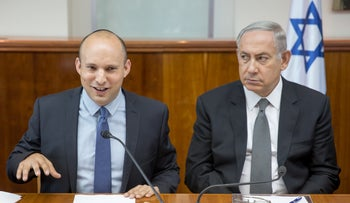 PM Netanyahu (r) and Education Minister Bennett at a weekly Government meeting, August, 2016.
