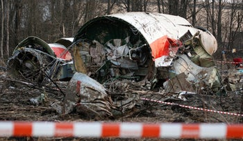 This Sunday April 11, 2010 file photo, shows the wreckage of the Polish presidential plane which crashed early Saturday in Smolensk, western Russia.