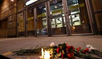 Flowers are pictured in front of the Spasskaya metro station in St. Petersburg, Russia, April 3, 2017.