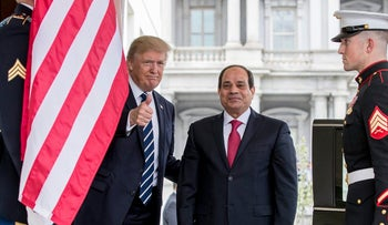 President Donald Trump gives a thumbs up to members of the media as he greets Egyptian President Abdel Fattah Al-Sisi at the White House in Washington, Monday, April 3, 2017.