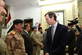 Jared Kushner arrives at the Ministry of Defense, in Baghdad, Iraq, Monday, April 3, 2017.