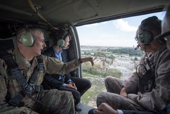 Jared Kushner is pictured during a helicopter transit over Baghdad, Iraq, in this April 3, 2017.