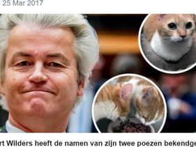 Geert Wilders and his cats Snoetje and Pluisje have caused a Twitter-storm