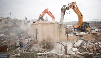 FILE PHOTO: A house demolition in Beit Hanina , East Jerusalem, January 27, 2014.
