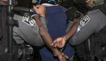 Members of the Border Police making an arrest.