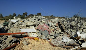 Demolition of illegal structures in the Israeli Arab community of Kafr Kana, in 2015.