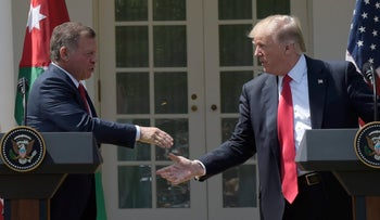 Jordan's King Abdullah II and U.S. President Donald Trump at the White House, APril 5, 2017.