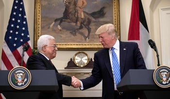 U.S. President Donald Trump and Palestinian President Mahmoud Abbas in Washington, DC, on May 3, 2017.