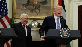 President Donald Trump and Palestinian leader Mahmoud Abbas prepare to leave after speaking in the Roosevelt Room of the White House in Washington, Wednesday, May 3, 2017.