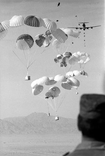 Paratroops exercise in Sinai.