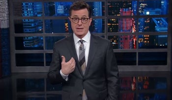 """Stephen Colbert addresses the backlash over a recent anti-Trump joke he made on a recent episode of """"The Late Show with Stephen Colbert,"""" May 3, 2017"""