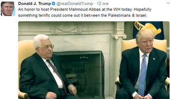 The original Trump tweet on Abbas's visit on May 3, 2017, and was deleted a day later.