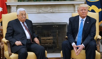 U.S. President Donald Trump meets with Palestinian President Mahmoud Abbas in the Oval Office of the White House in Washington, May 3, 2017.