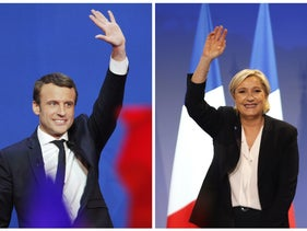 In this photo combination, French centrist presidential candidate Emmanuel Macron waves before he addresses his supporters at his election day headquarters in Paris, April 23, 2017, left, and far-right candidate for the presidential election Marine Le Pen waves at supporters after she delivers a speech during a meeting in Bordeaux, southwestern France, April 2, 2017.