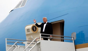 President Trump stepping off Air Force One in New York, May 4, 2017.