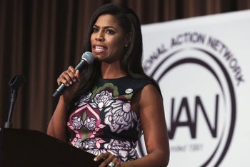 White House staffer Omarosa Manigault speaking at the Women's Power Luncheon in New York, April 27, 2017.